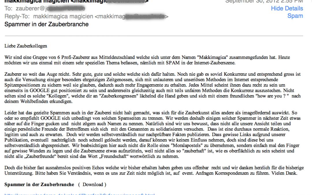 Spamm E-Mail Mailadresse geschwärzt